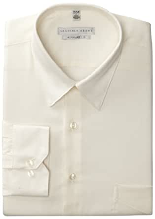 Geoffrey Beene Men's Regular Fit Sateen Dress Shirt, Almond,14.5/32-33