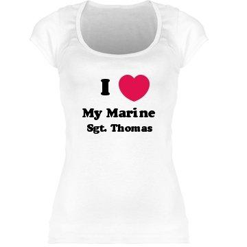 I Love My Marine: Custom Junior Fit Sheer Longer Scoop Neck T-Shirt