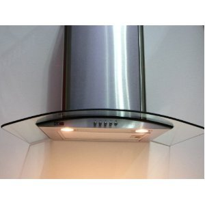 Cooker Hood with Curved Glass (70cm wide), Extra Powerful Extraction Capacity Free Vent Kit