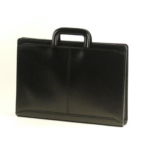 【日本製】 本革スマートブリーフ<スムース革>(黒) 薄型ブリーフケース A4ファイル収納 抜き手仕様