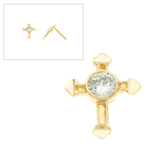 10KT Gold Cross With CZ Screw Back Earrings