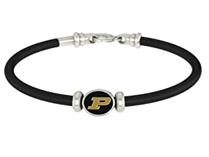 Purdue Boilermakers College Rubber Sterling Silver Jewelry Bracelet by Collegiate Beads
