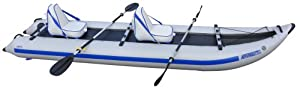 Sea Eagle 435 Paddle Ski Catamaran Inflatable Kayak with Deluxe Package by Sea Eagle