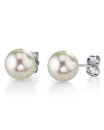 10-11mm White South Sea Pearl Stud Earrings in 14K Gold - AAAA Quality