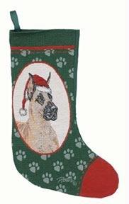 New! Woven Designer Great Dane Christmas Stocking by Linda Pickin