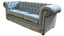 Chesterfield aspecto envejecido Velluto 3 plazas azul Tela para sofá o ofrecen