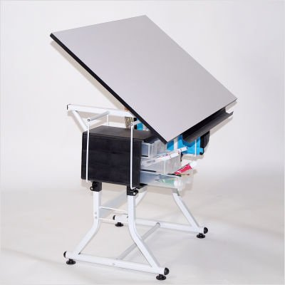 Best Martin Ashley Art-Hobby Table With Stool, Black With White Top ...