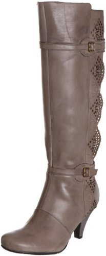 Hush Puppies Women's Carmela Smoke Leather Knee High Boots H2609696E 3 UK