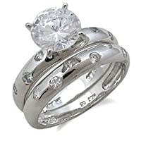 CZ Wedding Rings - Designer Inspired CZ Engagement and Wedding Ring Set