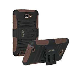 Amzer Hybrid Kickstand Case Cover for Samsung Galaxy Note GT-N7000 - Black/Brown