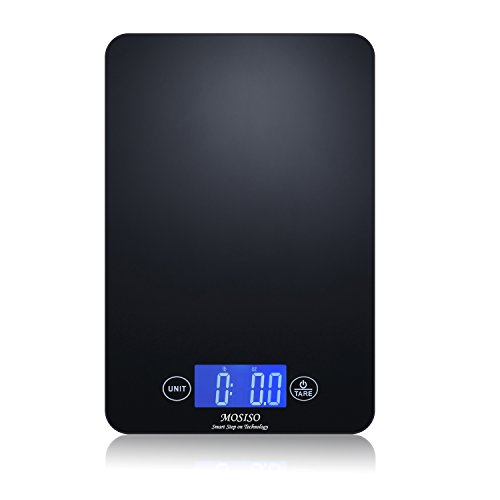 Mosiso - Ultra-Thin Touch Professional Digital Kitchen Scale (11 lbs Edition), Tempered Glass in Elegant Black