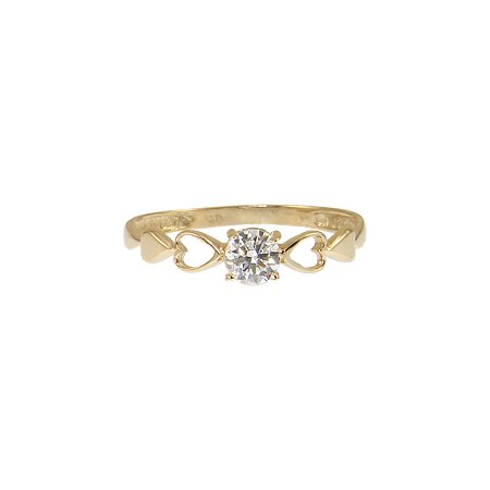 14k Yellow Gold, Heart Solitaire Lady's Dainty Promise Ring Round Created Gem