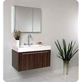 Fresca Vista Walnut Modern Bathroom Vanity w/White Acrylic Sink & Countertop