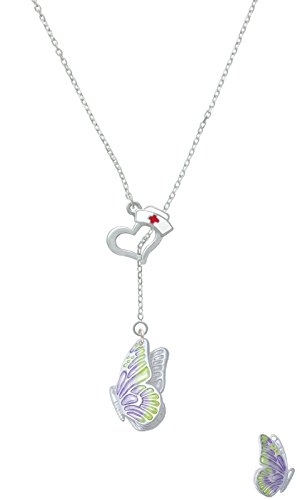 Large Translucent Purple & Lime Green Flying Butterfly Open Heart Nurse Hat Lariat Necklace