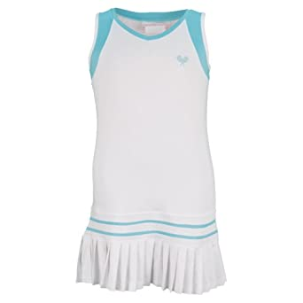 Buy Girls` Pleated Tennis Dress White With Aqua Trim by Little Miss Tennis