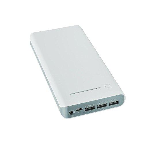 Weiße Graue Powerbank mit unglaublich starken 17600 mAh in Weiß/Grau für Samsung Galaxy Ace 2 I8160 mit LED Leuchte und LED status Anzeige 3er USB Port 5,2A für Smartphone Tablet und Netbook