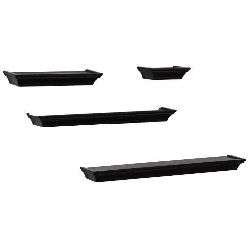 *Back-to-School Sale!* Adeco [WS0086] Decorative Home Decor Black Wood Floating Wall Shelf Shelves, Set of 4