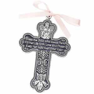 "4"" Pewter Baptism Bless The Child Guardian Angel Cross Crib Medal for Girl"
