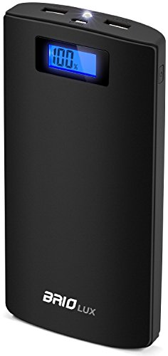 Sentey Power Bank 20800mah External Battery Pack Portable Charger Dual Port 2.1 and 1.0 Amp/ Dc 5v / LCD Power Indicator Pack Powerbank Mobile Phone and Tablets Rubber Surface Finish Brio LUX Ls-2186