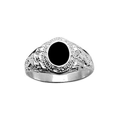 So Chic Jewels - 925 Sterling Silver Onyx Oval Signet Ring
