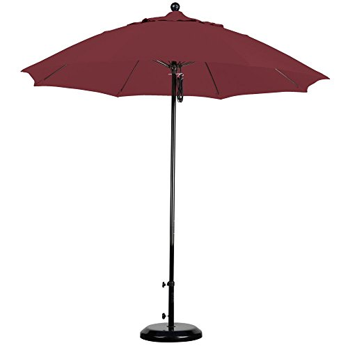 California Umbrella 9' Round 100% Fiberglass Frame Market Umbrella, Push Lift, Black Pole, Sunbrella Antique Beige