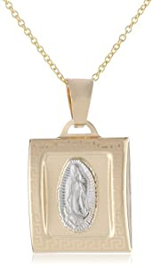 """14k Two Tone Gold Our Lady of Guadalupe Square Medal Necklace, 18"""""""