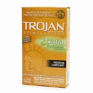 Trojan Lubricated Latex Condoms, Twisted Pleasure 12 ct (Quantity of 3)