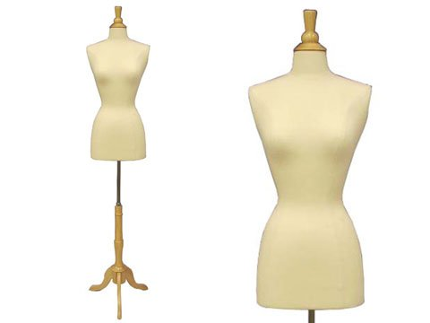 (JF-F2/4W+BS-01) Female Body Form w/ triple wooden Base & Top , also available w/ Black base (by request)