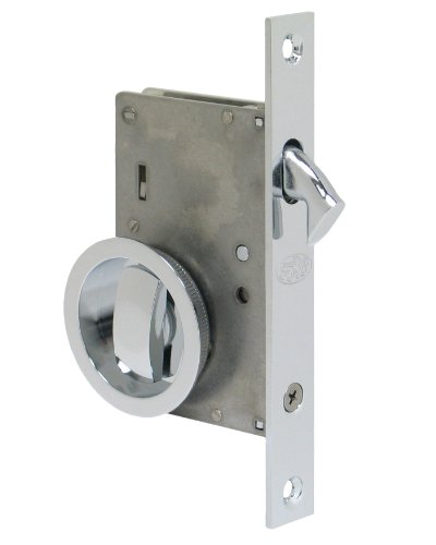 Series 2000 by FPL- Solid Brass Pocket Door Mortise Lock Set in Privacy - Bed / Bath Function, Polished Chrome, 1-3/4