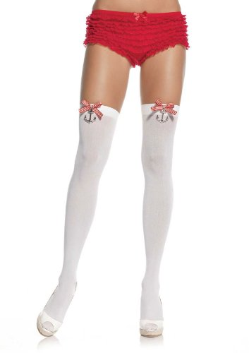 Anchors & Bows Sailor Thigh Highs Sexy Sailor Costume Thigh Highs 6257