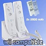 (W) Nintendo Wii White Dual Twin Motion Plus Charging Charge Dock Station with 2x Rechargeable Battery Plus LED Light for Remote Control (Compatible with or without MotionPlus) - iZKA® One Stop Shop For All Your Accessory Needs