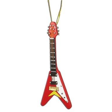 Flying V Electric Guitar Christmas Ornament