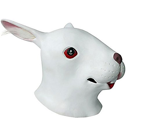 HLLWN Expresss, White Rabbit Head, Halloween Masquerade Latex Mask 2014 HLWMSK62