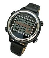 VibraLITE 12 Vibrating Watch with Black Leather Band from Harris Communications