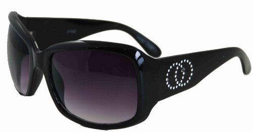 DYVS638C-Black Frame UV Sunglasses With Rhinestones