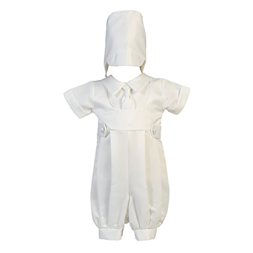 Lito Baby Boys White Matte Satin Romper Christening Easter Outfit 0-18M