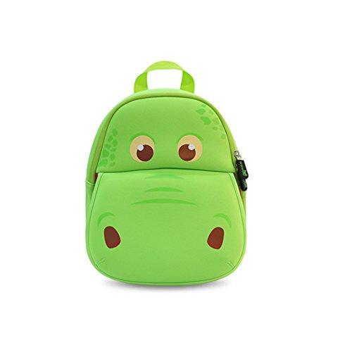 Nohoo Waterproof Kids Backpack 3D Hippo Cartoon School Hiking Sidesick Bags Green
