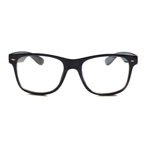 KIDS Childrens Nerd Retro Oversize Black Frame Clear Lens ...