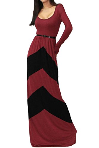 Pink Queen® Womens Chevron Striped Color Blocking Maxi Dress XX-Large Red