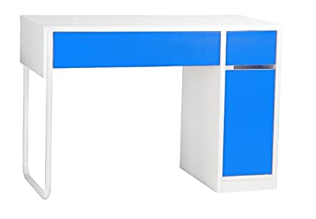 Classy Two Tone Computer Desk - Vibrant And Stylish - Offers Ample Storage Space - Built In CPU Storage - Ideal For Laptop And Desktop Users (Blue)