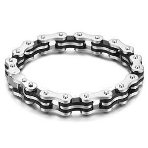 MEN MEN'S BIKE CHAIN BRACELET STAINLESS STEEL SILICONE HARLEY BIKER MOTORCYCLE JEWELRY GIFT