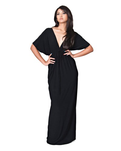 Koh Koh Women's Sexy V-Neck Kimono Sleeve Elegant Evening Cockatil Long Maxi Dress - X-Large - Black