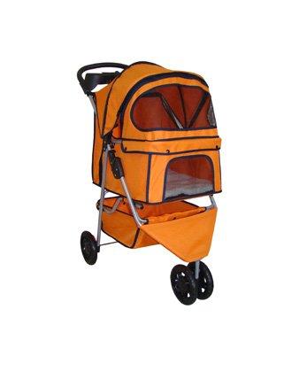 BestPet Pet Stroller Cat Dog 3 Wheel Walk Travel Folding Carrier W/Rain Cover Orange