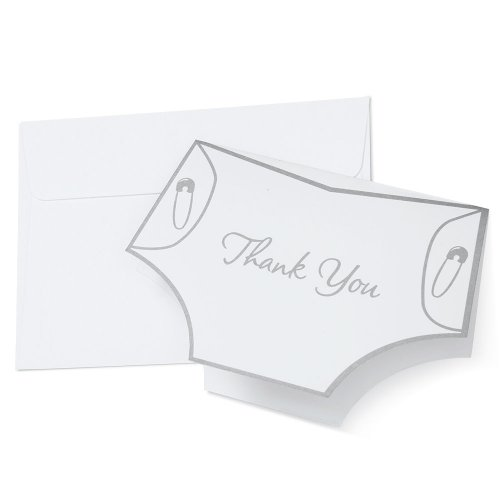 Wilton 1008-1478 Diaper Shape Thank You Cards for Wedding, 20-Pack- Discontinued By Manufacturer
