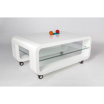 HL Design 01-12-623.1 Couchtisch Luke Materialstärke 40 mm, Ablage im 6 mm, Sicherheitsglas, Klarglas, Rollen sichtbar, 90 x 50 x 40 cm, hochglanz weiß lackiert