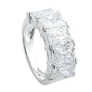 Sterling Silver CZ Eternity Ring - Band Width 3mm. Setting Width 9mm.