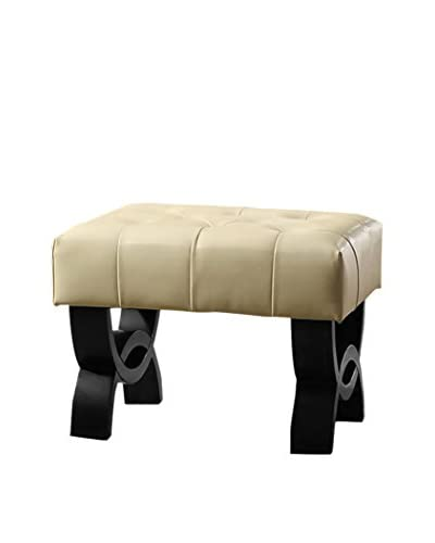 Armen Living Central Park 24 Tufted Leather Ottoman, Cream