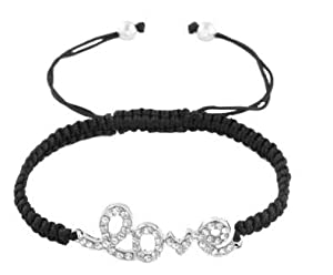 Silver with Clear Iced Out Script Love Black Shamballa Macrame Lace Bracelet