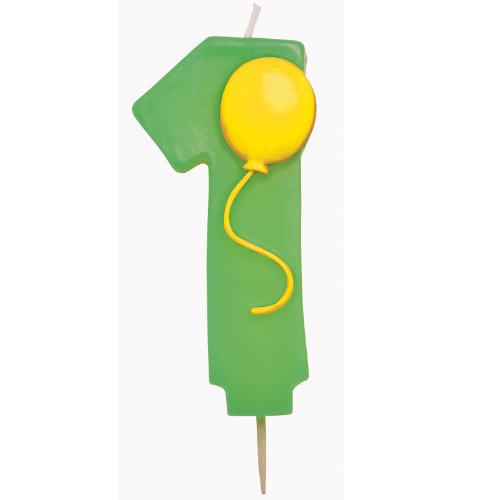 "Creative Converting Mens Number ""1"" Pick Candle With Balloon (Green and Yellow) - 1"