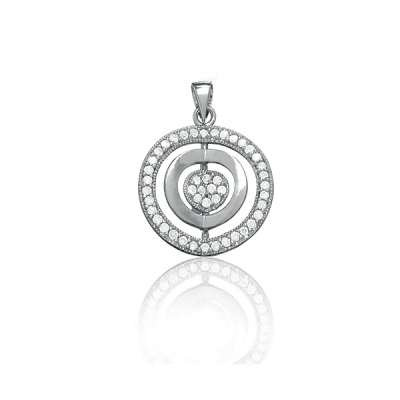 Cute Fashion Necklace Pendant Jewelry Sterling Silver with Clear CZ and Silver Triple Circle Shaped Design(WoW !With Purchase Over $50 Receive A Marcrame Bracelet Free)